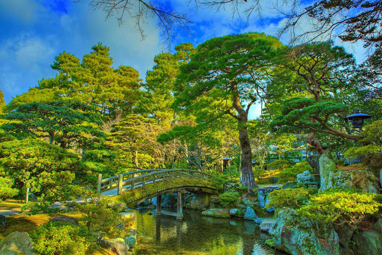 Фото Киото Китай Imperial Palace park HDR Мосты Природа Пруд Парки дерева Дизайн HDRI мост парк дерево Деревья деревьев дизайна