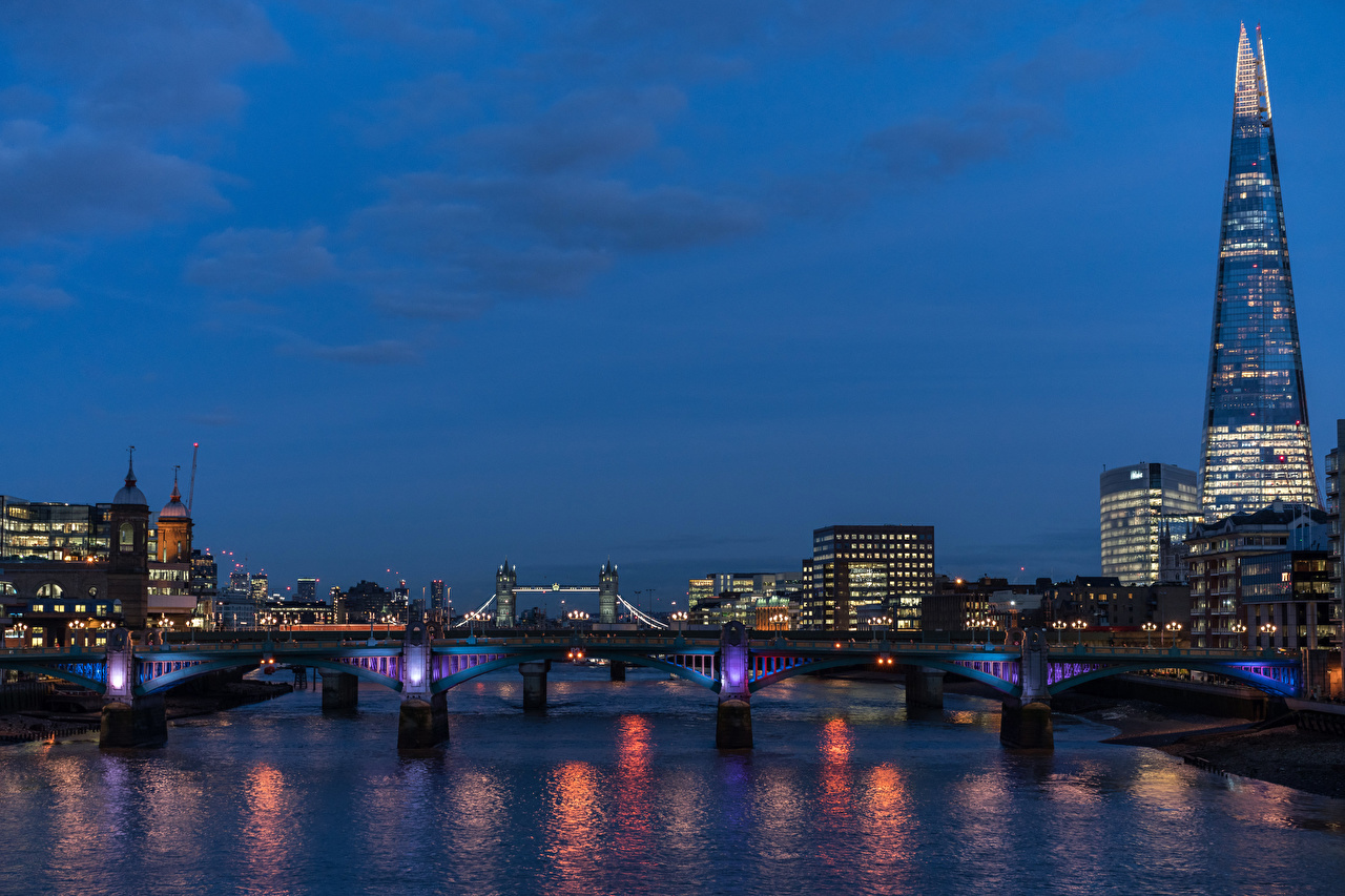 Фото лондоне Англия Мосты Реки Вечер Города Здания Лондон речка Дома