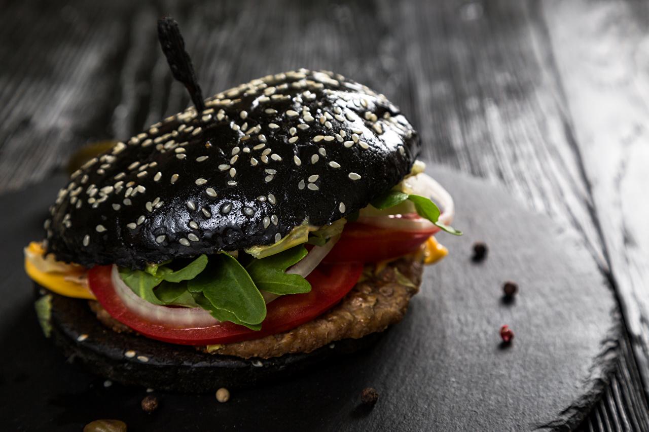 Обои для рабочего стола черных Гамбургер Пища вблизи Черный черные черная Еда Продукты питания Крупным планом