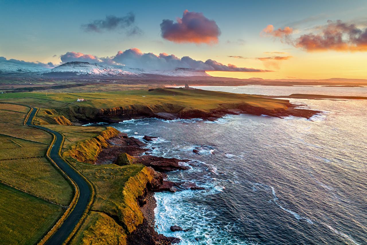 Фотография Ирландия Mullaghmore Горы Океан Природа Дороги Сверху Побережье Облака гора берег облако облачно
