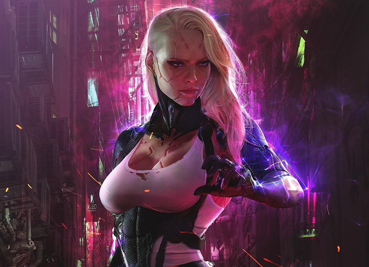 Картинка Грудь Робот Киборг блондинок Cyberpunk Фантастика молодая женщина груди роботы робота киборги блондинки Блондинка Киберпанк Фэнтези девушка Девушки молодые женщины