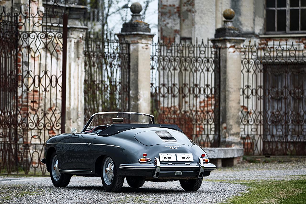 Картинки 1959-61 Porsche 356B 1600 S Roadster by D'ieteren Freres (T5) Родстер кабриолета Винтаж вид сзади автомобиль Порше Кабриолет Ретро старинные авто Сзади машина машины Автомобили