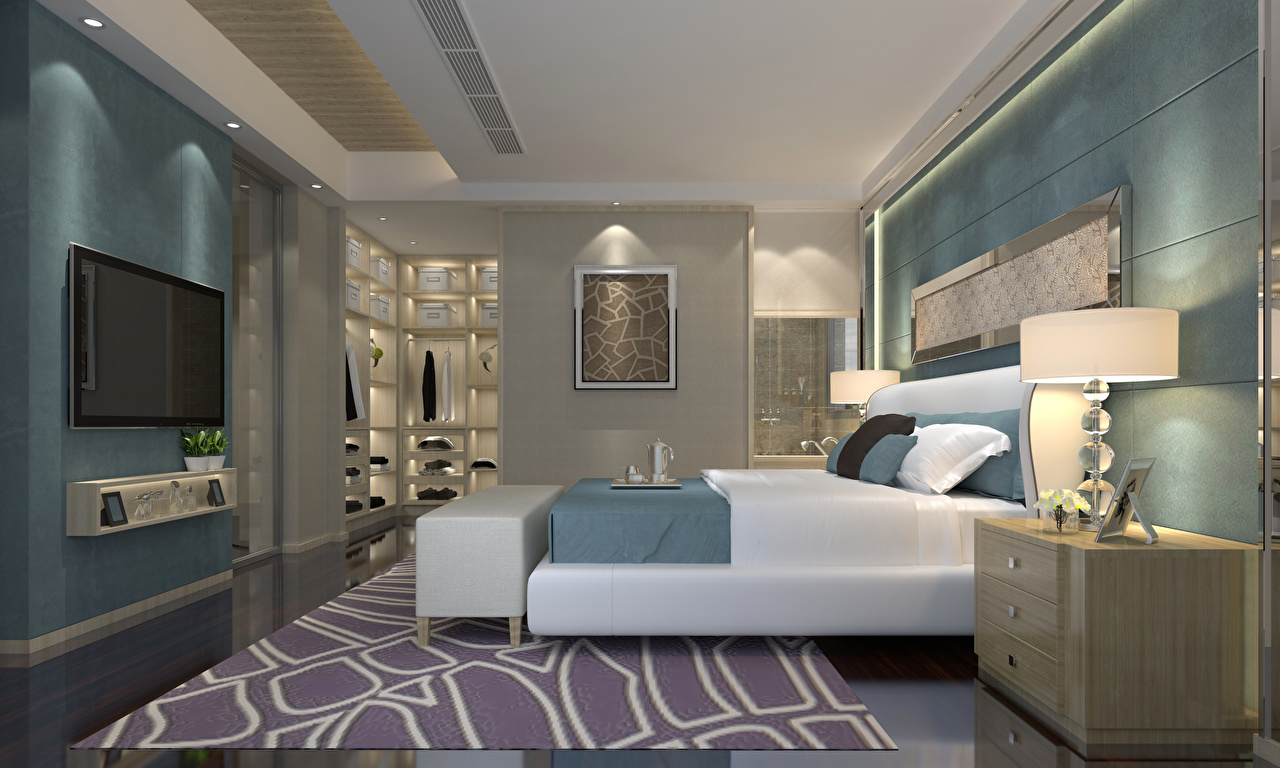 Картинка Спальня 3д Интерьер лампы кровате дизайна спальни спальне 3D Графика ламп Лампа Кровать кровати Дизайн