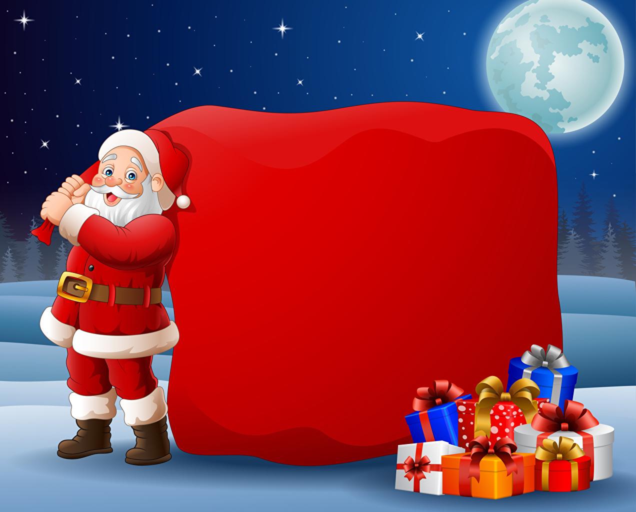 Картинки Новый год Санта-Клаус Луна подарков Униформа Векторная графика Рождество Дед Мороз луны луной подарок Подарки униформе