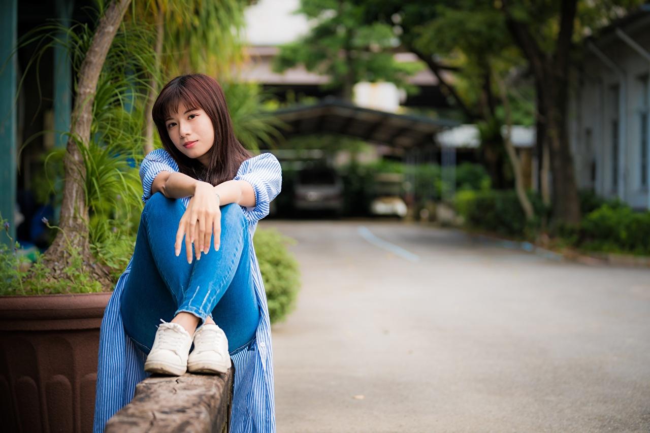 Картинки Шатенка Размытый фон Девушки ног Азиаты Руки Сидит шатенки боке девушка молодые женщины молодая женщина Ноги азиатка азиатки рука сидя сидящие