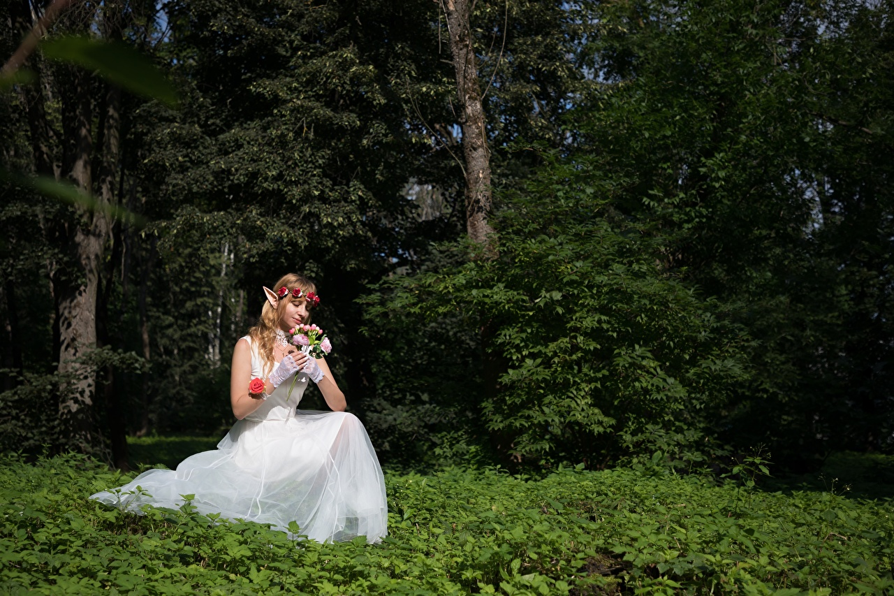 Картинки эльф невесты букет Фэнтези молодые женщины лес траве сидящие платья Эльфы Невеста Букеты девушка Девушки Фантастика молодая женщина Леса сидя Трава Сидит Платье