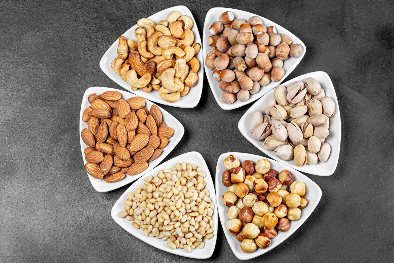 Картинка Фундук Миндаль Еда Орехи Лесной орех Пища Продукты питания