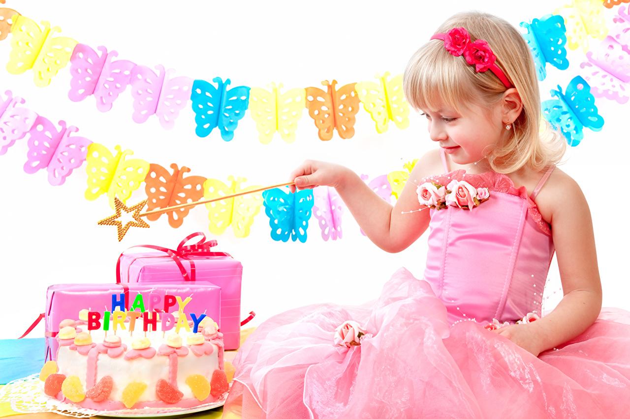 Фотографии Девочки День рождения Бабочки Дети Торты Платье девочка ребёнок платья