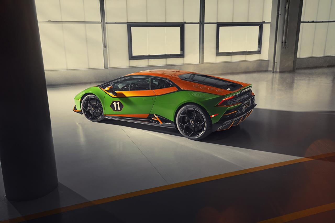 Обои для рабочего стола Lamborghini Evo, Huracan, GT Celebration зеленых Сбоку машины Ламборгини зеленая зеленые Зеленый авто машина Автомобили автомобиль