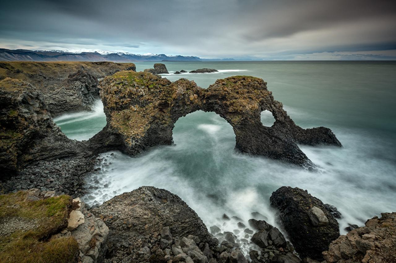 Картинки Ирландия Море скале Природа берег Утес скалы Скала Побережье