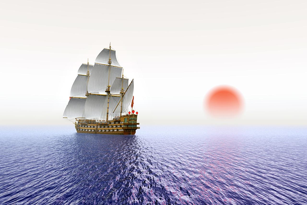 Фотографии Море Солнце 3D Графика Корабли Рассветы и закаты Парусные