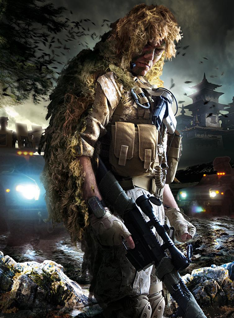 Фото Sniper Снайперская винтовка Снайперы Камуфляж Ghost Warrior 2 Игры Маскировка