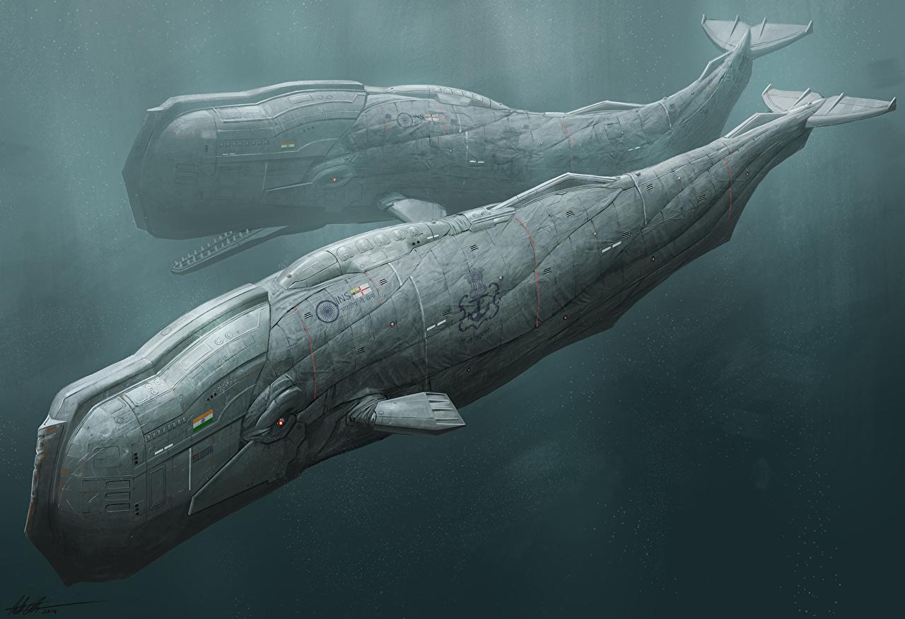 Фотографии Подводный мир два Фэнтези фантастическая техника 2 две Двое вдвоем Фантастика Техника Фэнтези