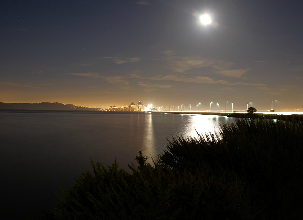 Фотография Мосты Природа Небо Озеро луной Ночные мост луны Луна Ночь ночью в ночи