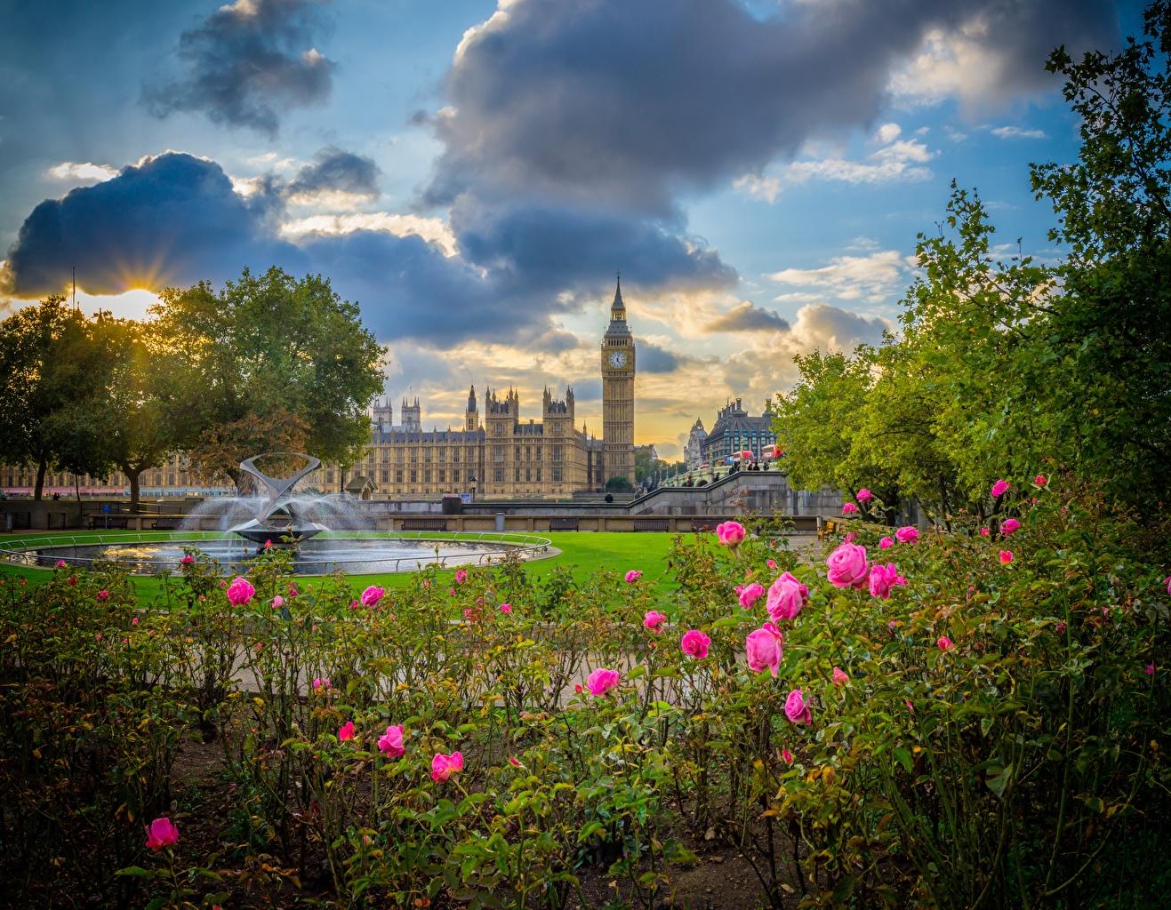 Обои для рабочего стола Лондон Биг-Бен Англия Фонтаны Palace of Westminster парк город лондоне Парки Города