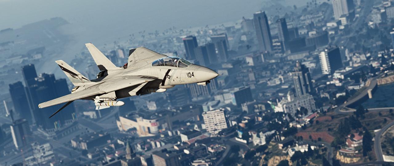 Обои ГТА 5 Истребители Самолеты Американские Grumman F-14D Super Tomcat 3D Графика Игры Авиация GTA 5