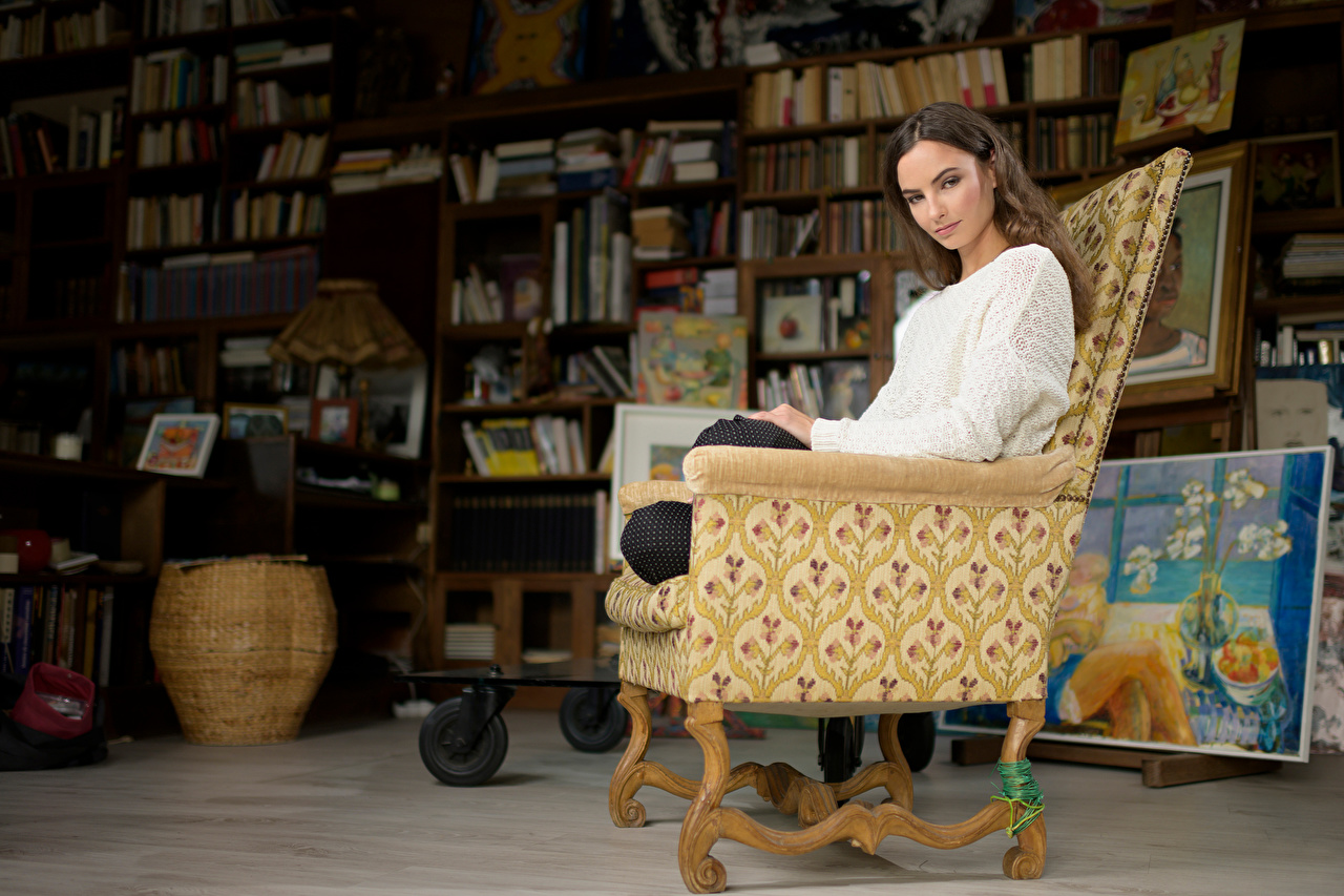 Фотографии Шатенка Alena молодые женщины Свитер комнаты Сидит Кресло шатенки девушка Девушки молодая женщина свитера свитере Комната сидя сидящие