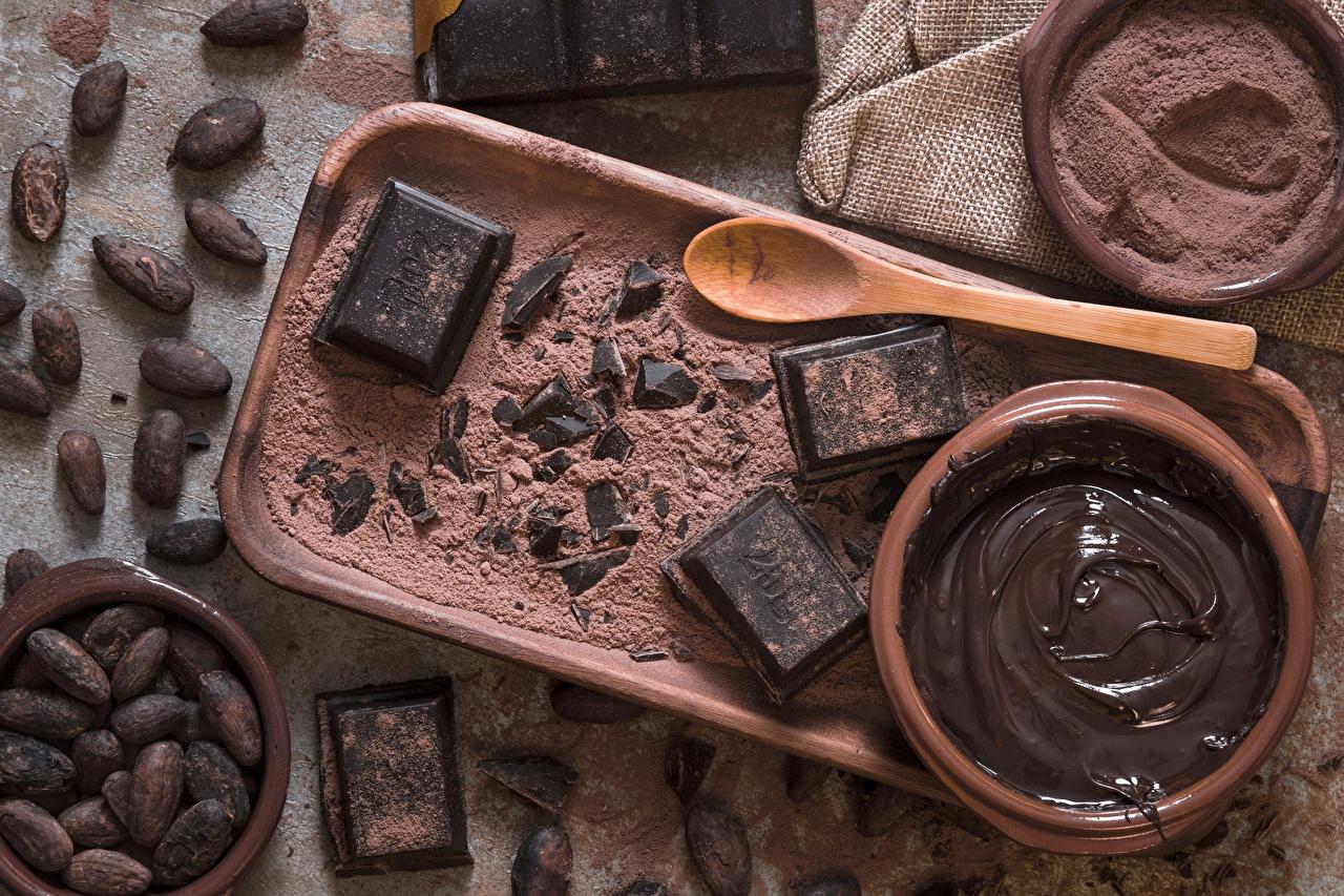 Картинки cocoa bean Шоколад масла Какао порошок Еда Ложка Масло Пища ложки Продукты питания