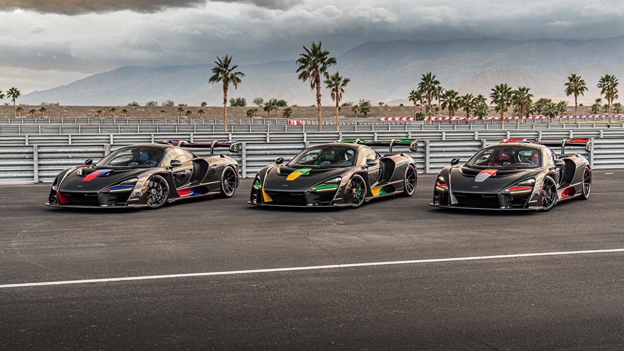 Обои для рабочего стола McLaren Тюнинг 2018-20 Senna черных втроем машины Металлик Макларен Стайлинг черная черные Черный три авто Трое 3 машина Автомобили автомобиль