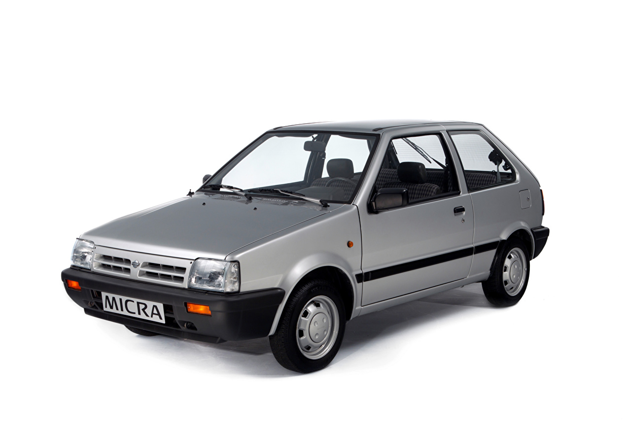Картинка Nissan Micra 3-door (K10), 1989–92 Серый авто Металлик Белый фон Ниссан серая серые машина машины Автомобили автомобиль белом фоне белым фоном