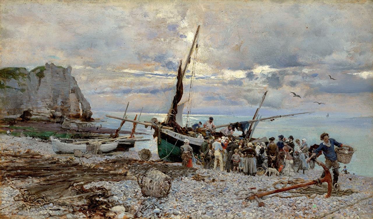 Картинки Giovanni Boldini, The Return of the Fishing Boats, Etretat Лодки берег картина Живопись Побережье