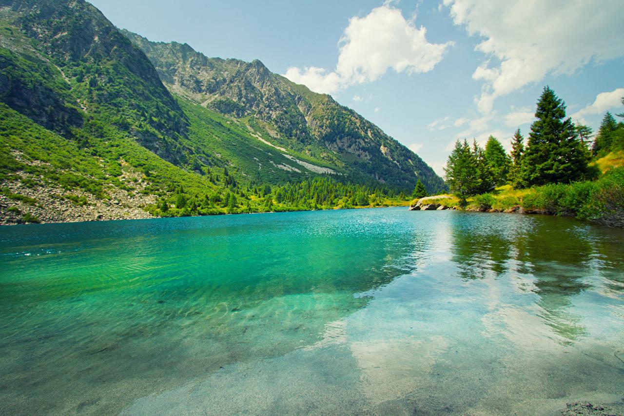 Картинка Горы Лето Природа Озеро Пейзаж Облака гора облако облачно