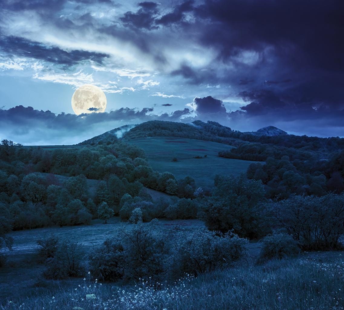 Картинки Природа Небо луны холмов Трава в ночи Кусты облако Луна холм луной Холмы Ночь ночью траве Ночные кустов Облака облачно