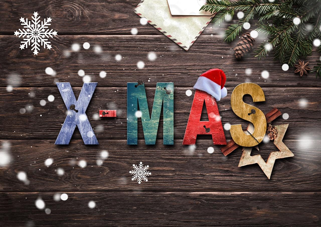 Фотография Новый год Звездочки Английский Шапки Снежинки Шишки ветвь Доски Рождество Ветки
