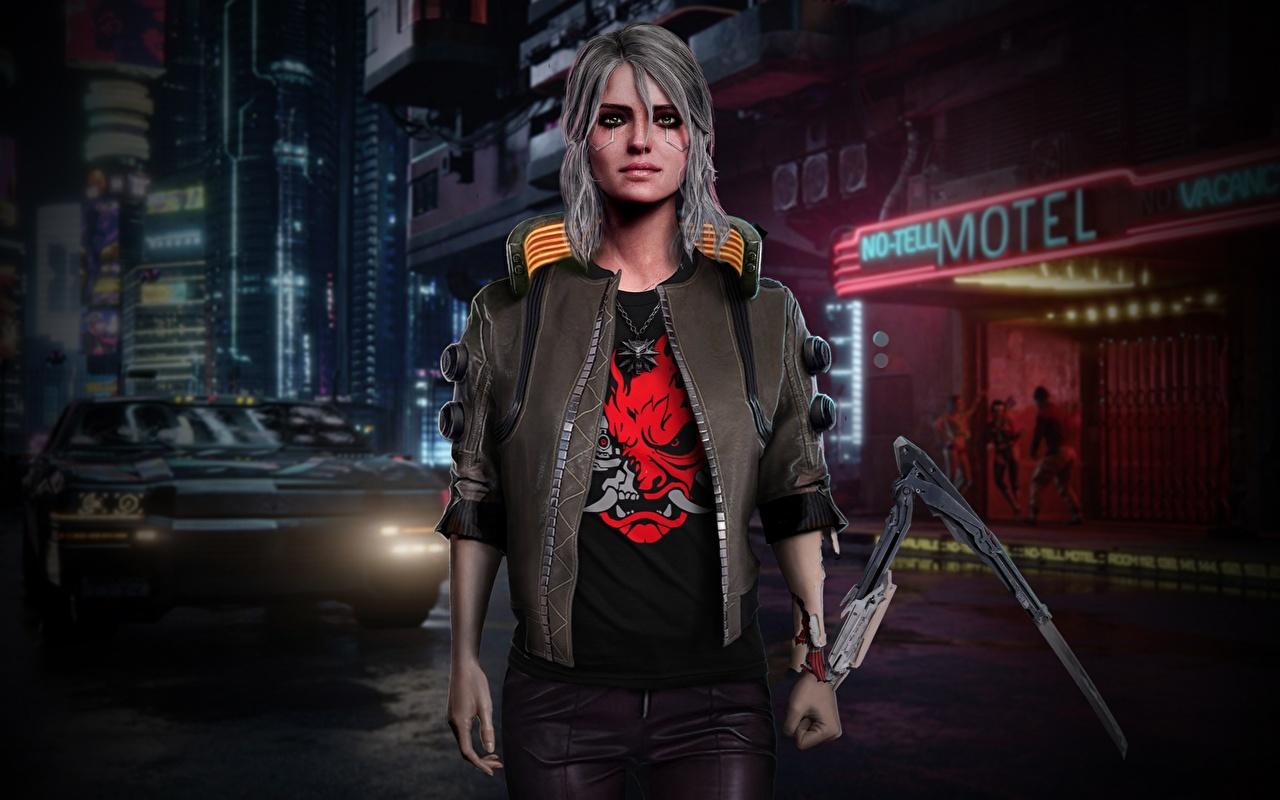 Обои для рабочего стола киберпанк 2077 Фан АРТ Ciri куртки компьютерная игра Cyberpunk 2077 Fan ART куртке Куртка куртках Игры