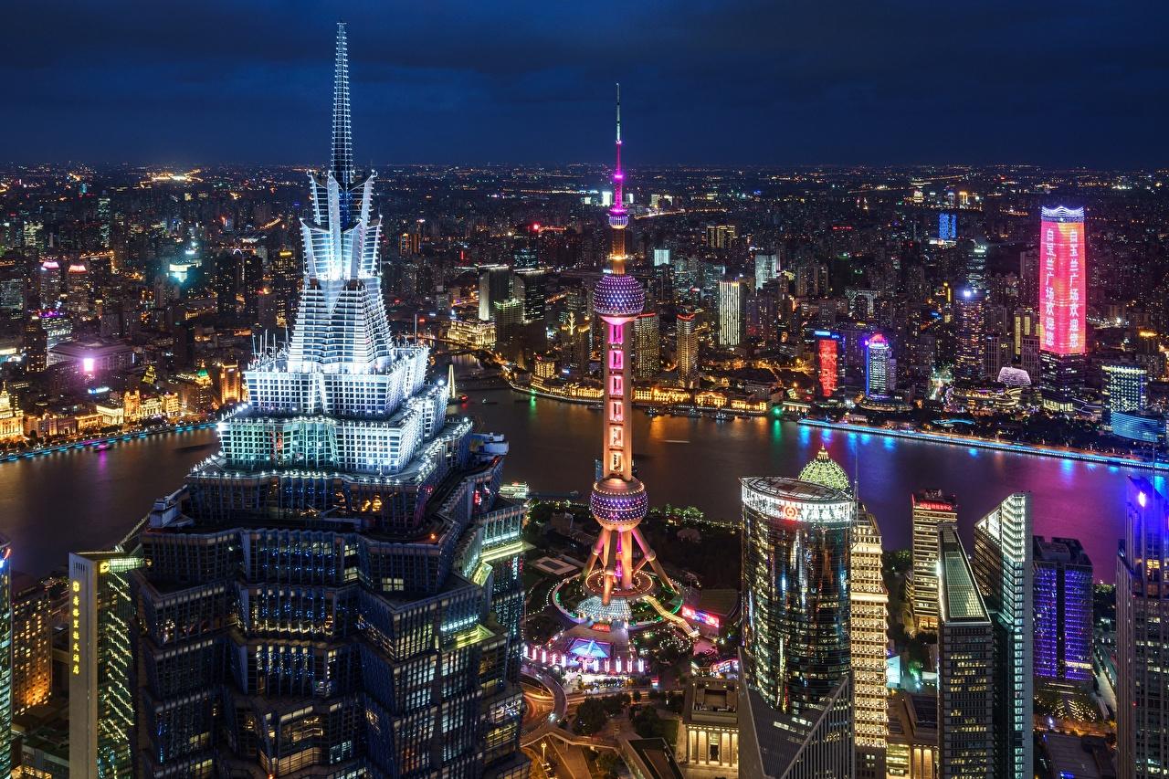Обои здания, шанхай, ночной город, shanghai, китай, china. Города foto 15
