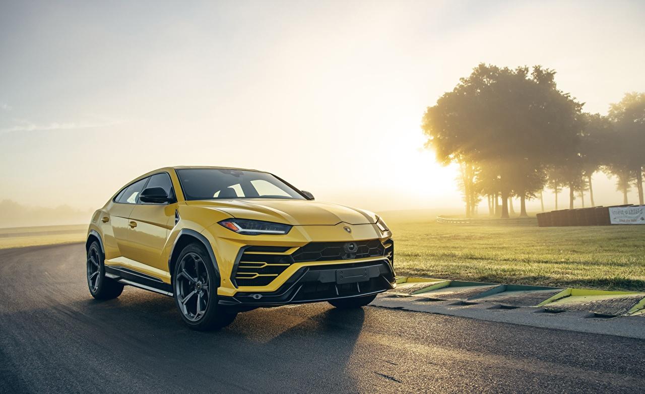 Фотография Ламборгини CUV Urus 2019 Желтый машины Lamborghini Кроссовер желтая желтые желтых авто машина Автомобили автомобиль