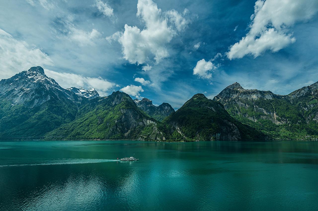 Фотография Швейцария Isenthal Lake Lucerne Горы Природа Небо Озеро облако Облака облачно