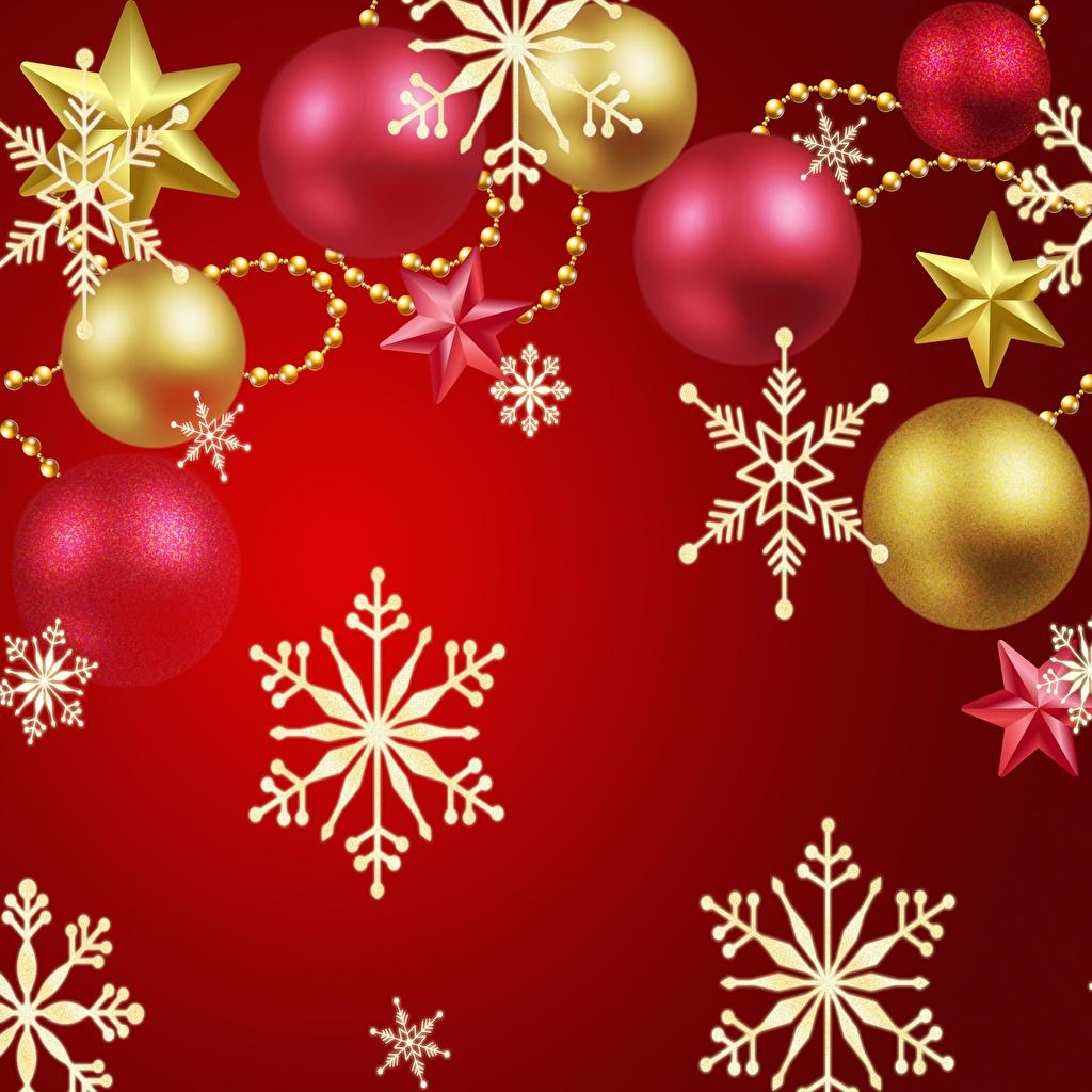 Фото Новый год Звездочки снежинка Шар Рождество Снежинки Шарики