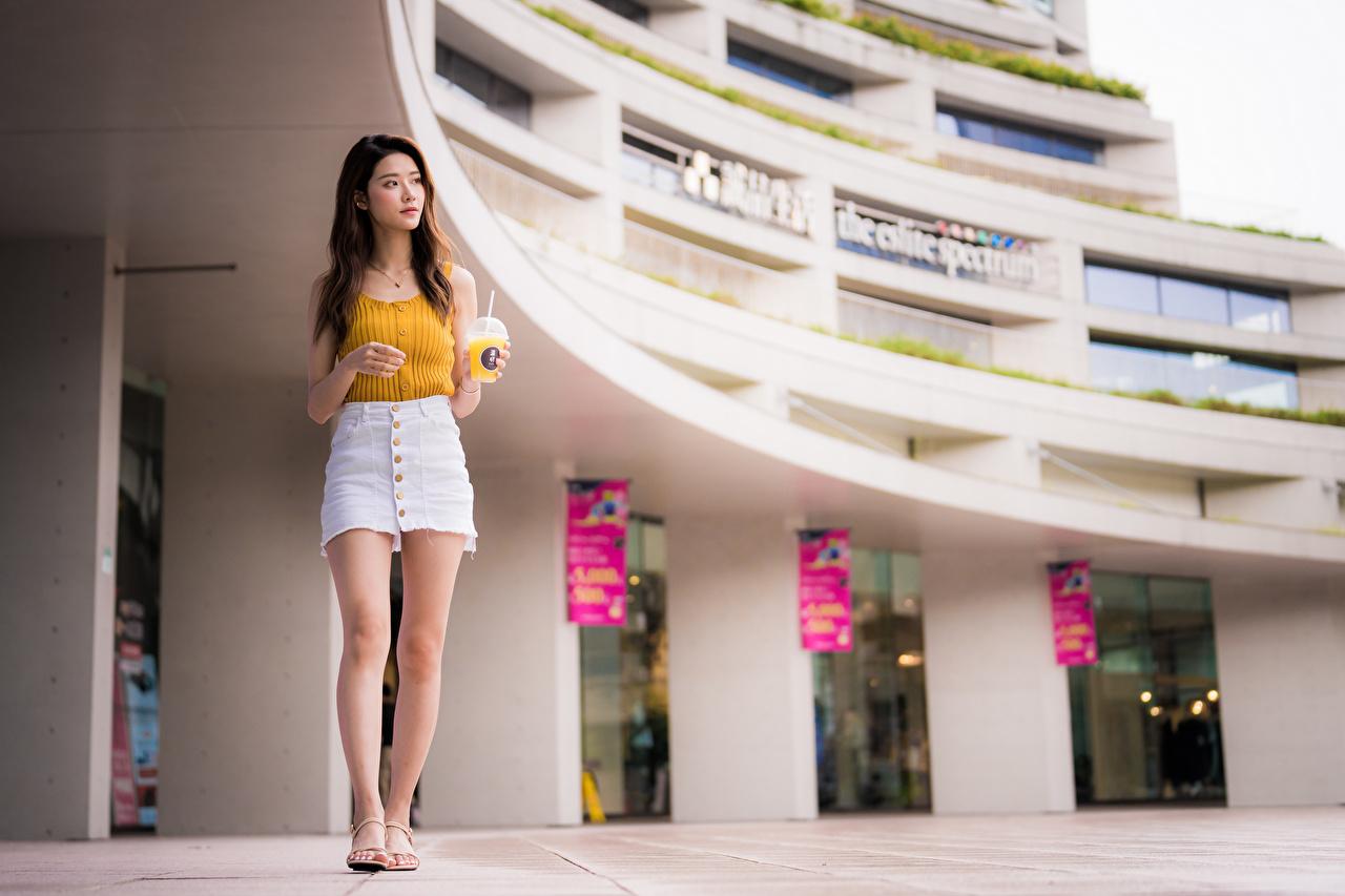 Фотография юбки молодые женщины Ноги Майка азиатки Юбка юбке девушка Девушки молодая женщина ног майки майке Азиаты азиатка