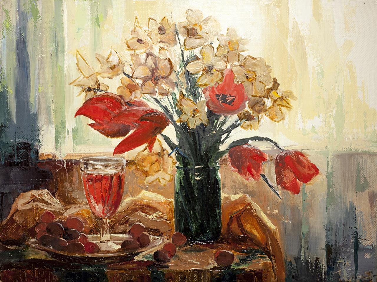 Картинка hangmoon Tulips in the bank тюльпан Цветы Банка Нарциссы бокал Живопись Натюрморт Тюльпаны банке банки цветок Бокалы картина