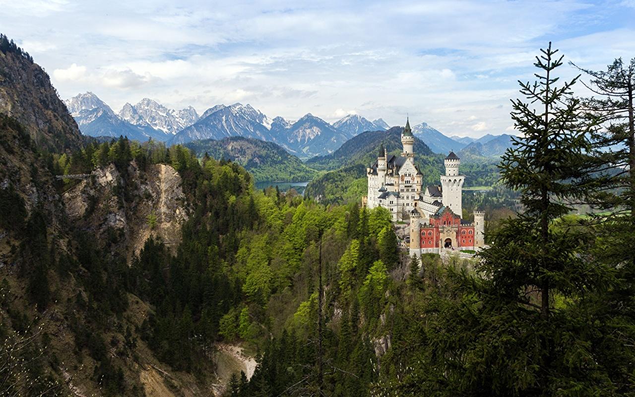 Картинки Бавария Нойшванштайн Германия Горы Замки Природа город дерево Города дерева Деревья деревьев