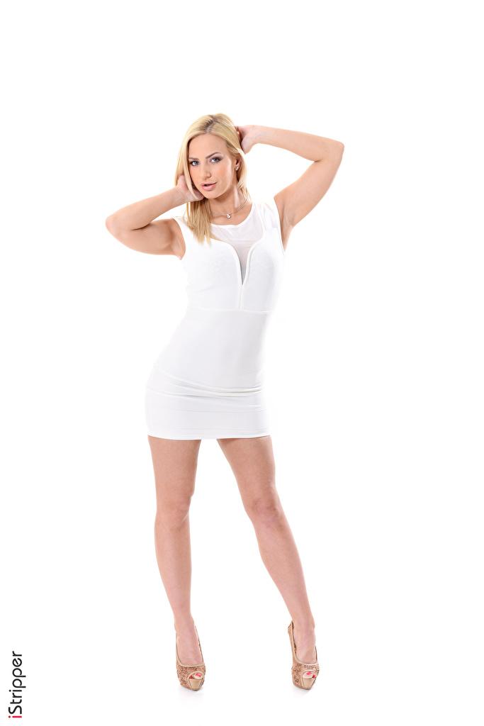 Фотография Nathaly Cherie блондинки iStripper Поза молодая женщина Ноги Руки белом фоне платья туфель  для мобильного телефона Блондинка блондинок позирует девушка Девушки молодые женщины ног рука Белый фон белым фоном Платье Туфли туфлях