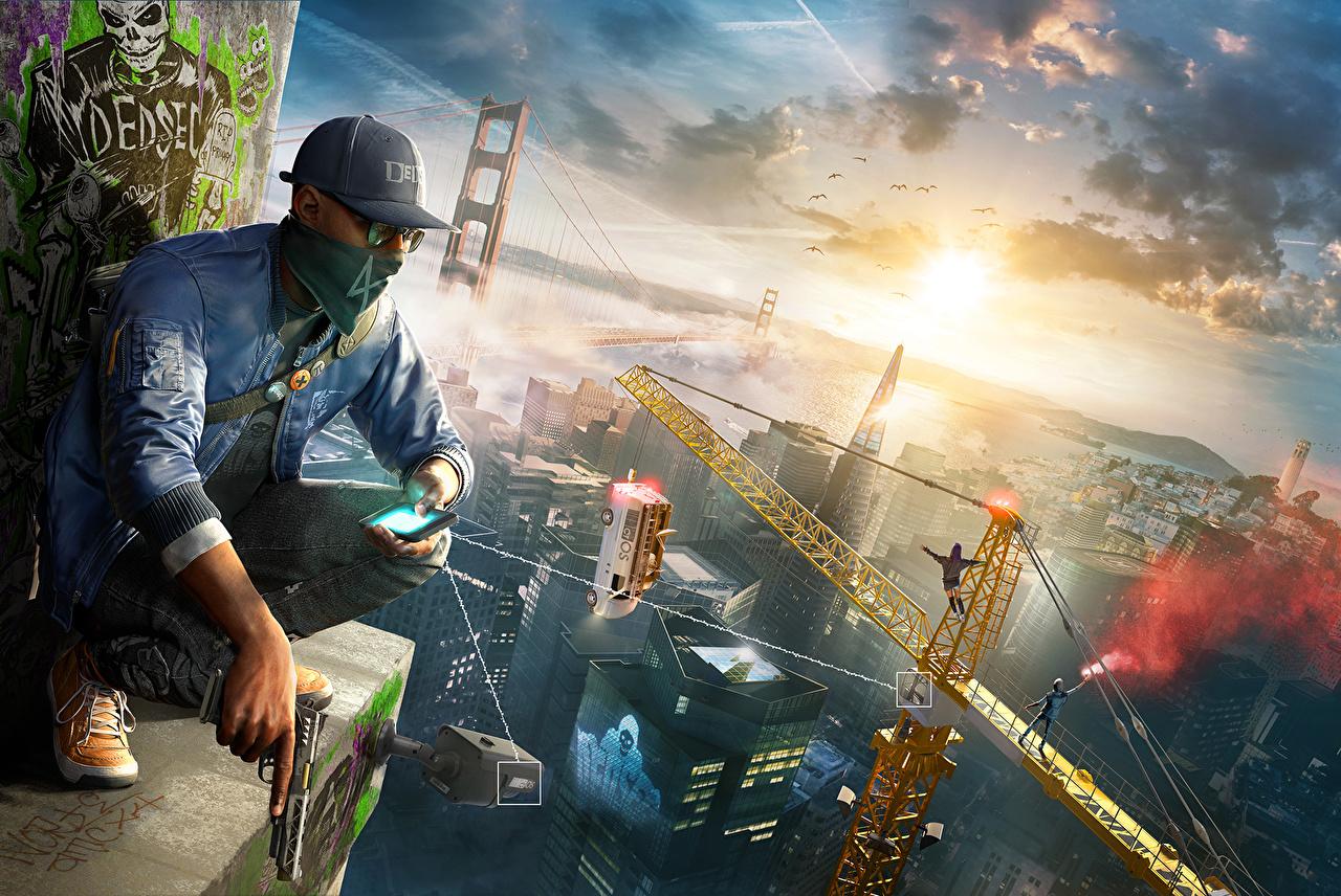 Фото Watch Dogs 2 Сан-Франциско пистолет Мужчины смартфоны компьютерная игра сидя Маски Бейсболка Пистолеты пистолетом мужчина Смартфон сматфоном Игры Сидит сидящие Кепка кепке кепкой