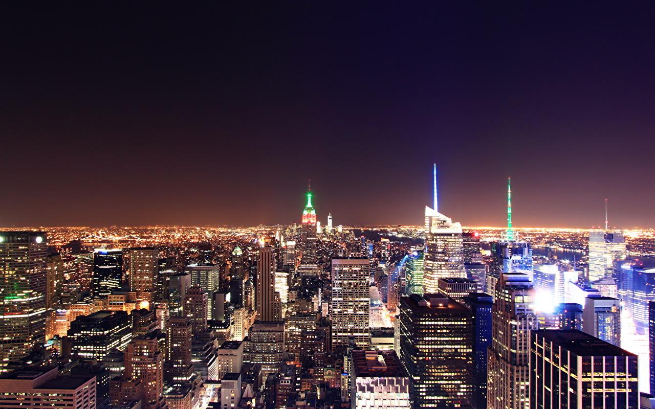 Картинки Нью-Йорк США Мегаполис ночью Здания Города штаты америка мегаполиса Ночь в ночи Ночные Дома город