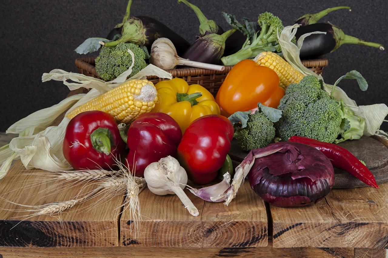 Обои для рабочего стола Кукуруза Лук репчатый Чеснок Пища Перец Еда перец овощной Продукты питания