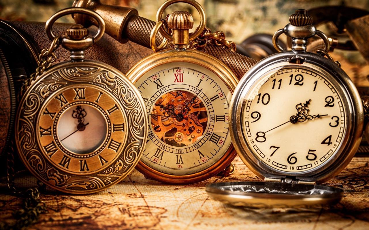Картинки Карманные часы Часы Крупным планом вблизи