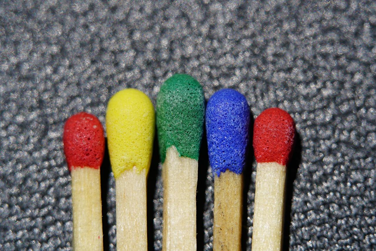 Картинка Спички боке Разноцветные Крупным планом Размытый фон вблизи