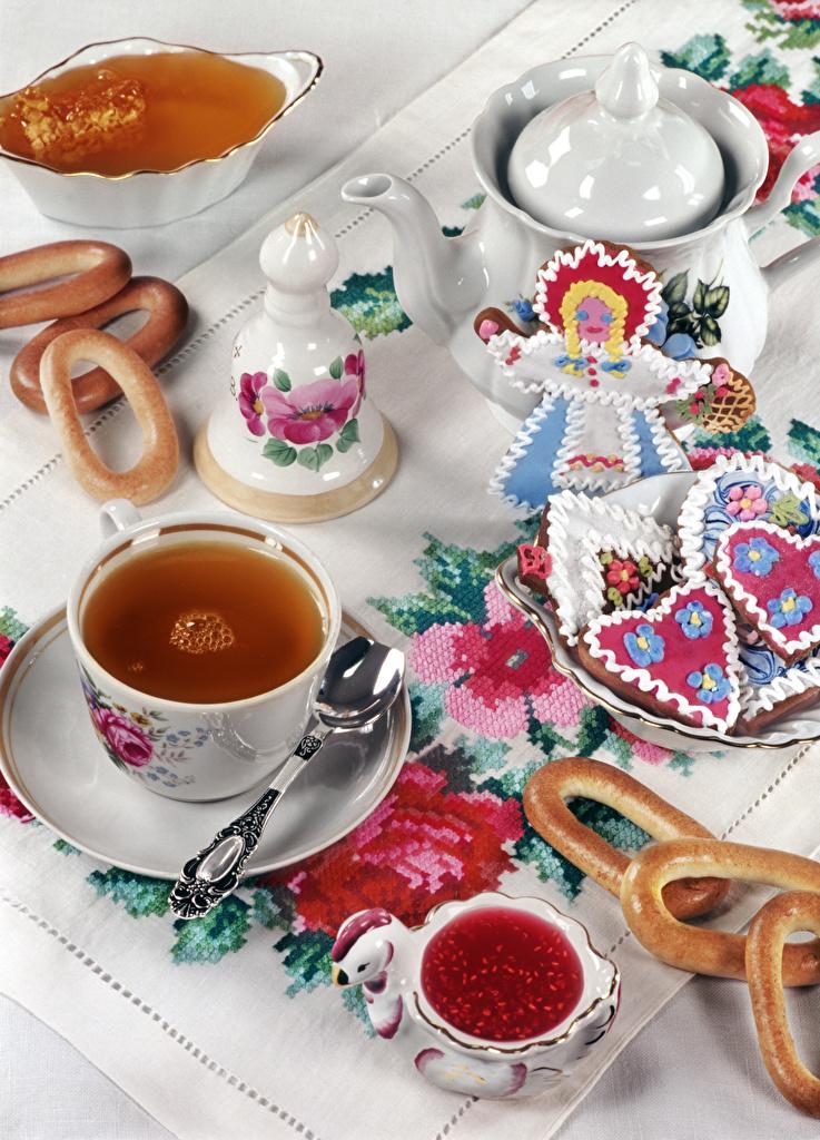 Обои Чай Мед джем Чайник Еда Печенье Варенье Повидло Пища Продукты питания