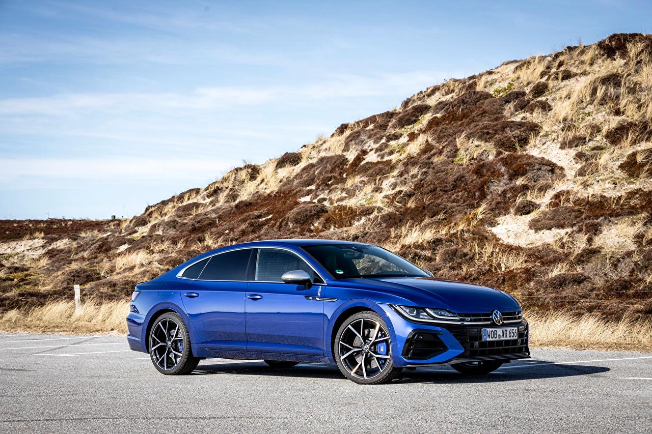 Фото Фольксваген Arteon R, Worldwide, 2020 -- синие машины Металлик Volkswagen синяя Синий синих авто машина Автомобили автомобиль
