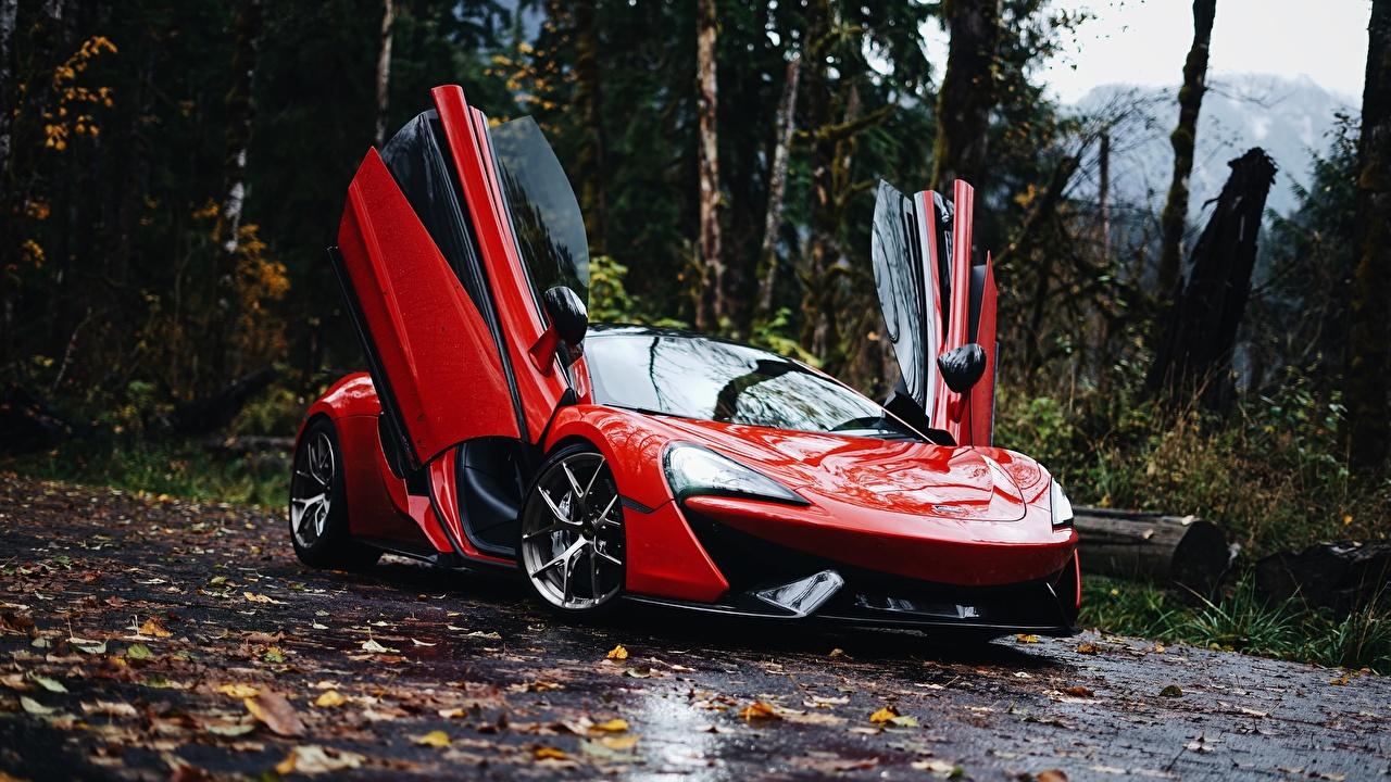 Обои для рабочего стола Макларен 570S 570S Красный Металлик автомобиль McLaren красная красные красных авто машины машина Автомобили