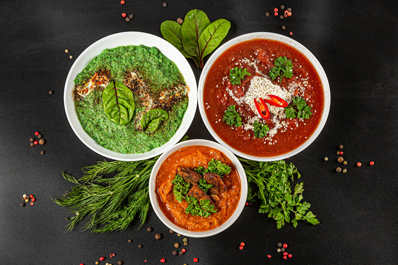Фотография Борщ Перец чёрный Укроп Супы Трое 3 Продукты питания Серый фон три Еда Пища втроем сером фоне