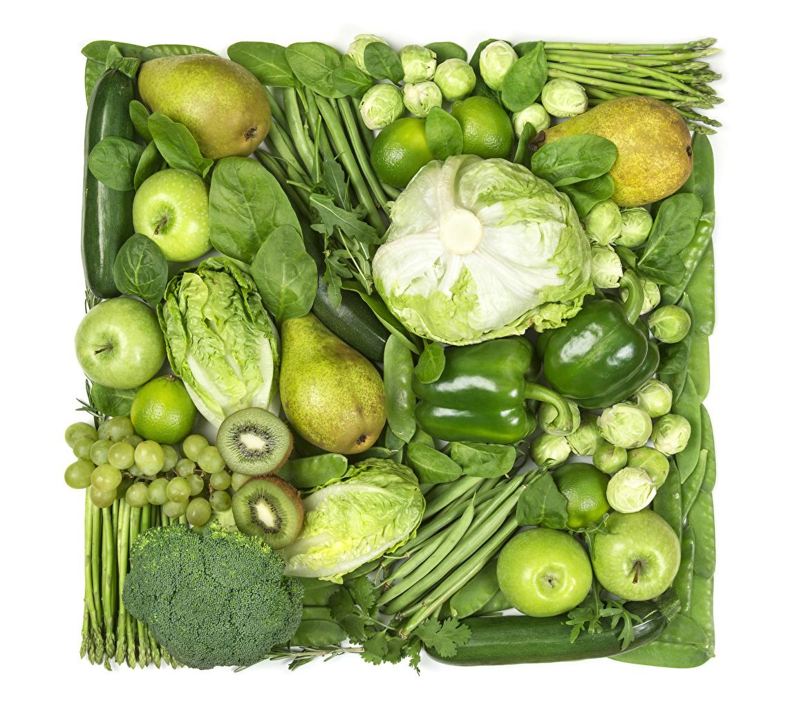 Картинка Зеленый Капуста Киви Груши Яблоки Виноград Пища Овощи Фрукты перец овощной зеленых зеленые зеленая Еда Перец Продукты питания