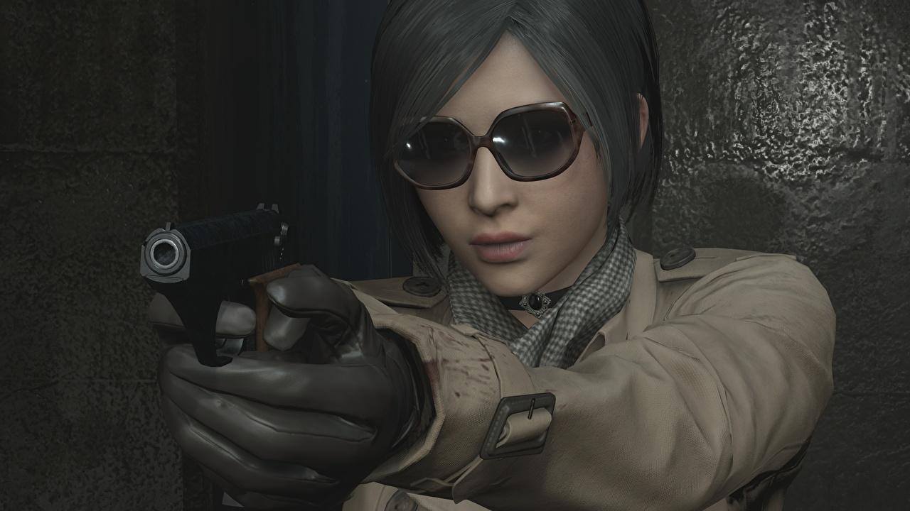 Фотографии Resident Evil 2 2019 пистолетом Ada Wong 3D Графика молодые женщины Игры Руки очках пистолет Пистолеты 3д девушка Девушки молодая женщина компьютерная игра рука Очки очков
