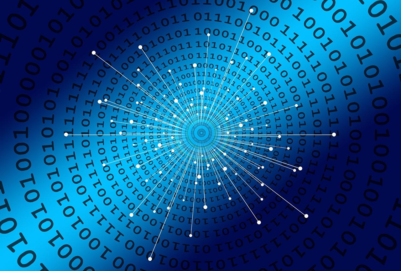 Обои для рабочего стола Текстура Binary code Синий синяя синие синих