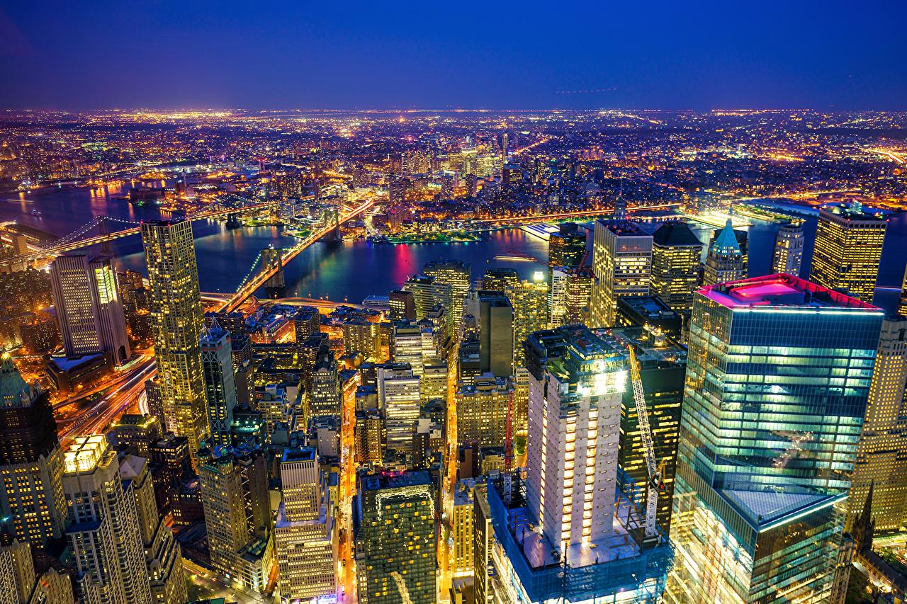 США Дома Небоскребы Реки Нью-Йорк Ночь Мегаполис речка, Здания, штаты, Ночные Города
